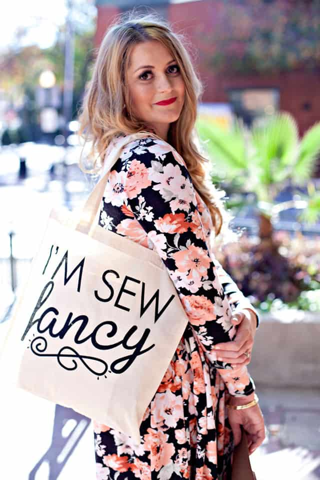 I'm So Fancy Tote | free LONG SLEEVE pattern for the Penelope peplum | long sleeve dress pattern | diy clothing | free sewing patterns | free sewing tutorials || See Kate Sew #freesewingpattern #sewingtutorial #diyclothing