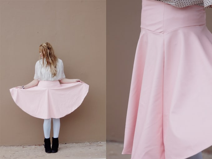 DIY pleather circle skirt pattern