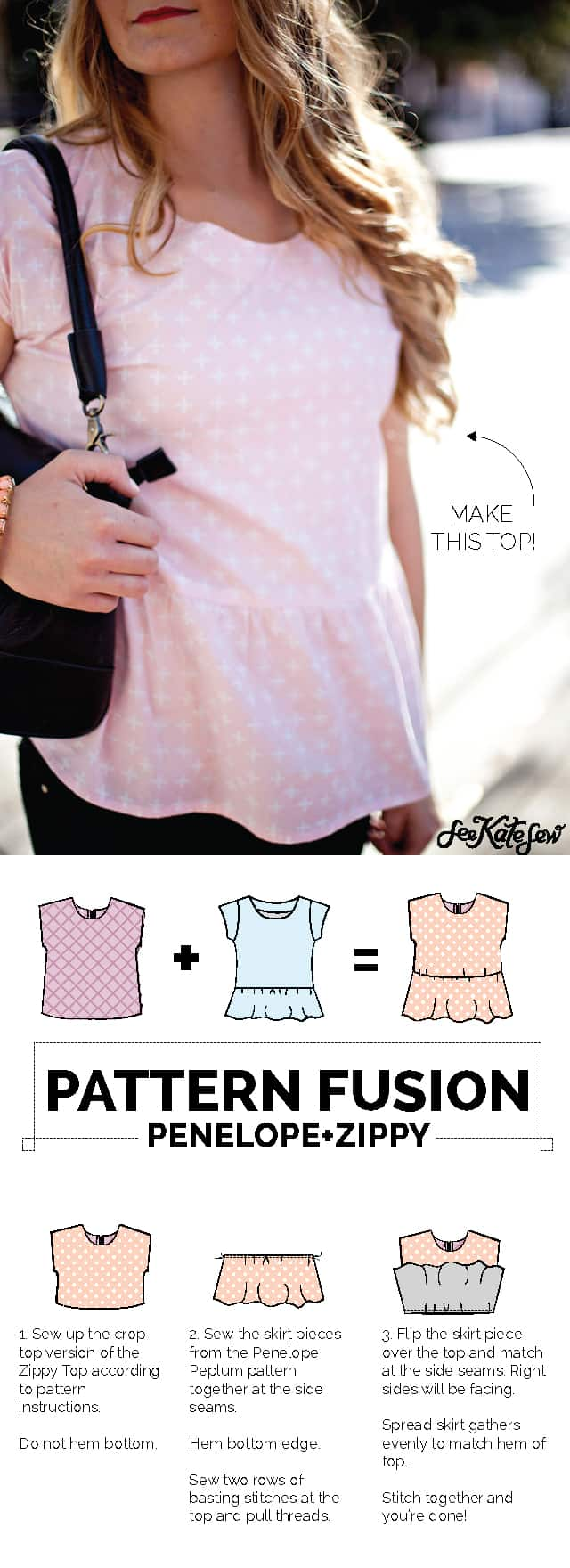 Make this simple DIY top! Just two awesome patterns and 3 simple steps!