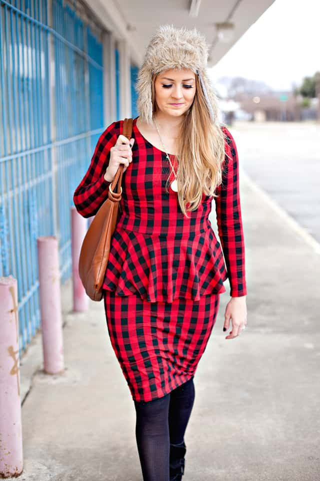 Buffalo Plaid Peplum Dress