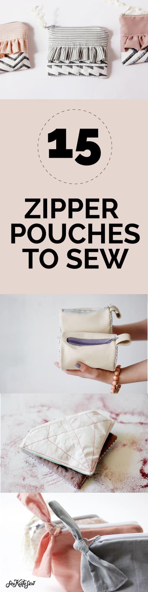 15 Zipper Pouch Tutorials | diy copper pouches | how to sew a zipper pouch | free zipper pouch tutorial || See Kate Sew #zipperpouch #diyzipperpouch #freesewingtutorial