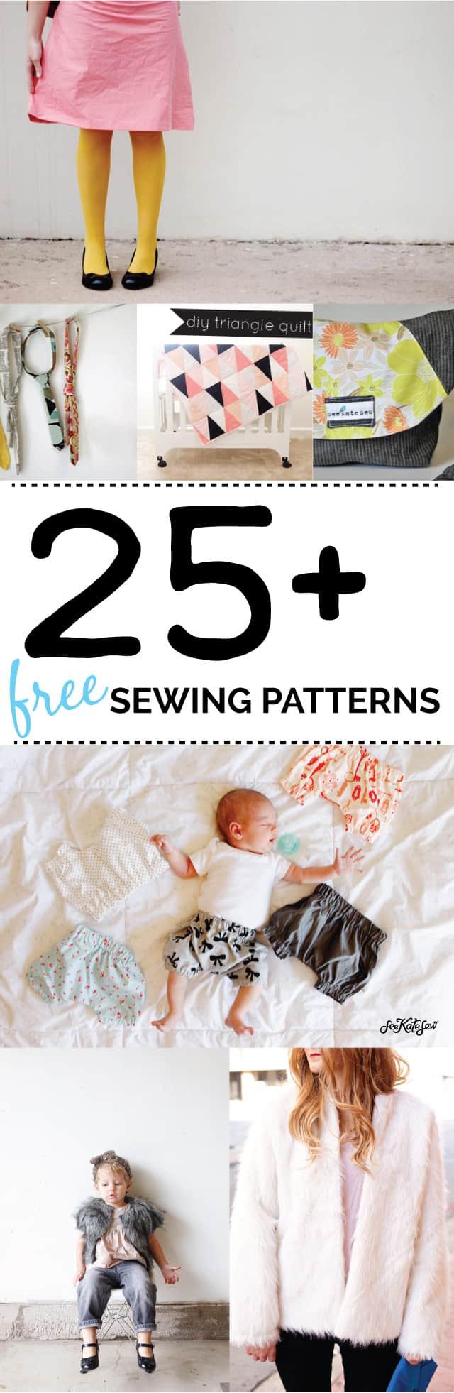 25 FREE SEWING PATTERNS!