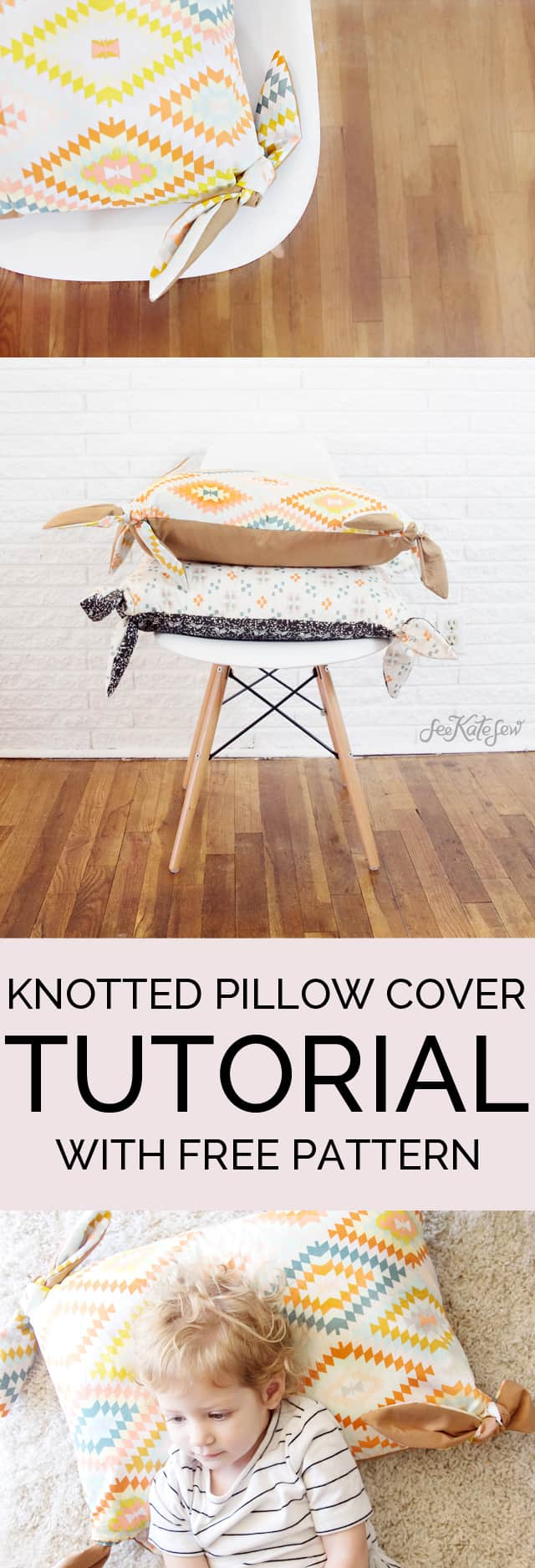 KNOTTED PILLOW COVER TUTORIAL // seekatesew.com