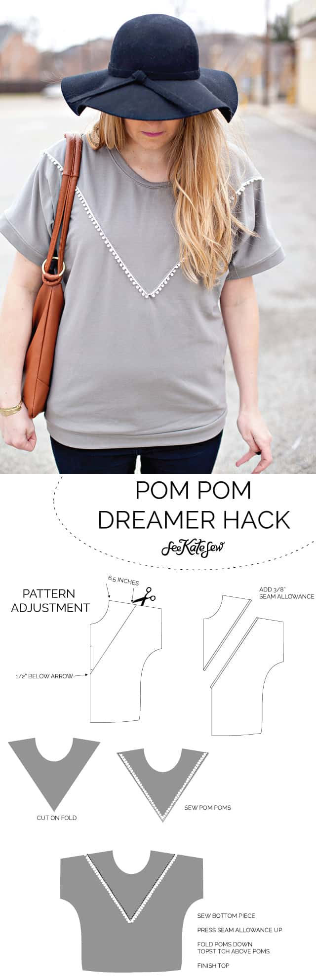 Pom Pom Dreamer Top | diy clothing ideas | handmade clothing | diy women's clothing || See Kate Sew #pompomtop #diytop #diyclothing