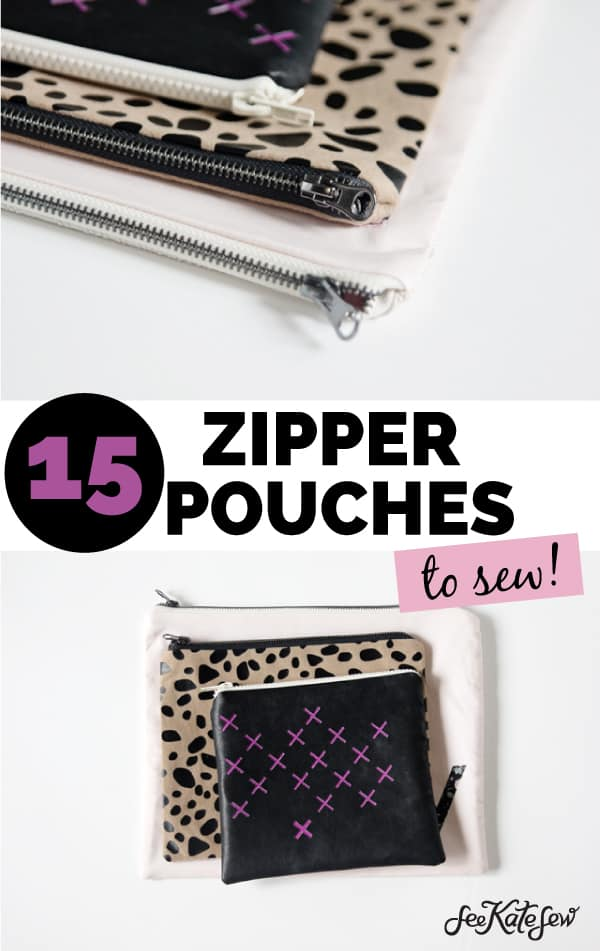 15 Zipper Pouches To Sew with See Kate Sew