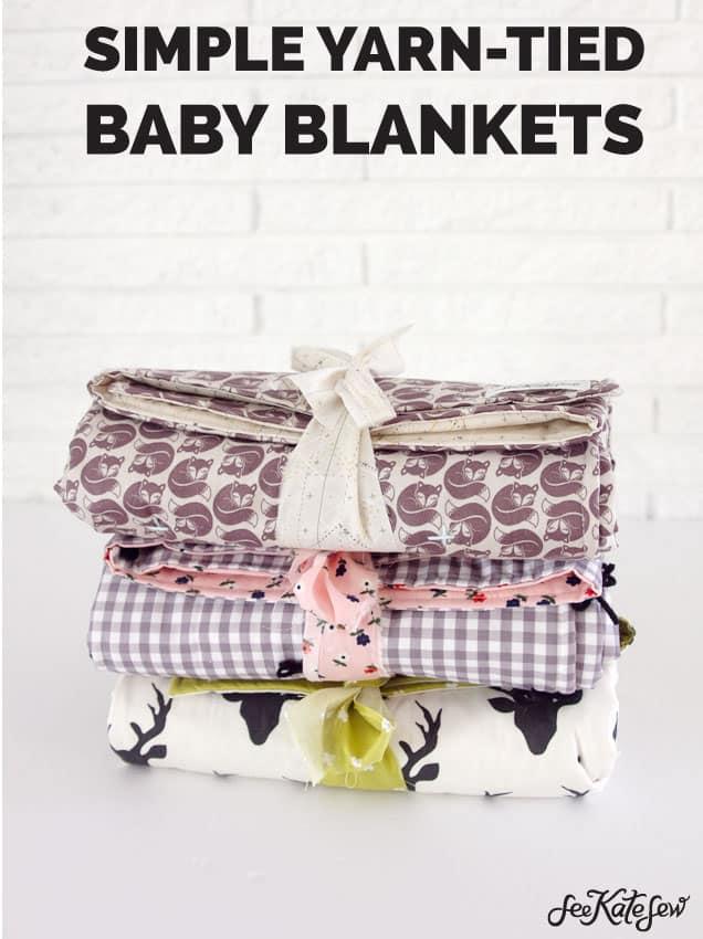 See Kate Sew|Simple Yarn Tied Baby Blankets
