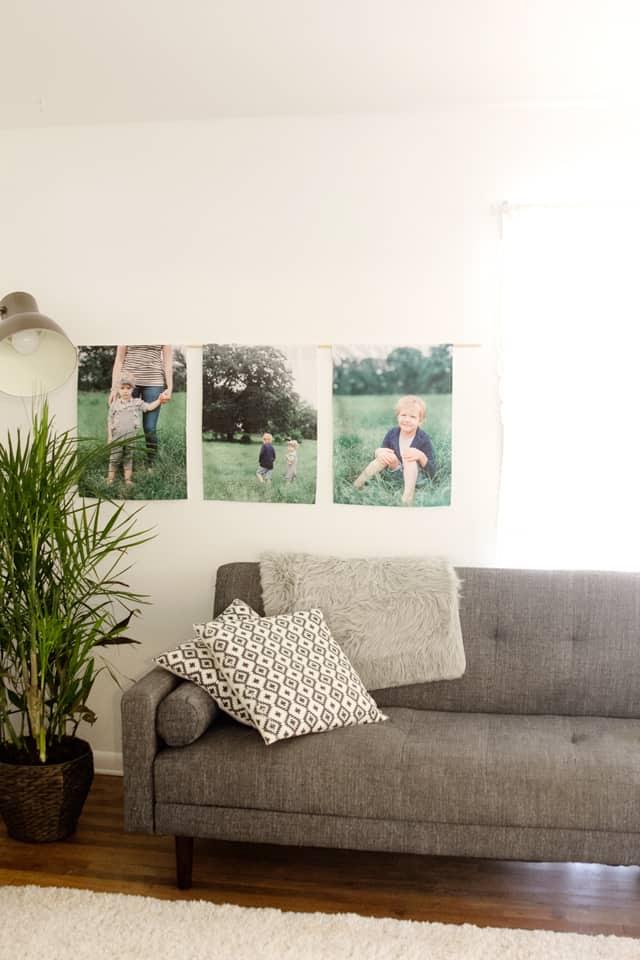 DIY Hanging Canvas Photo Wall