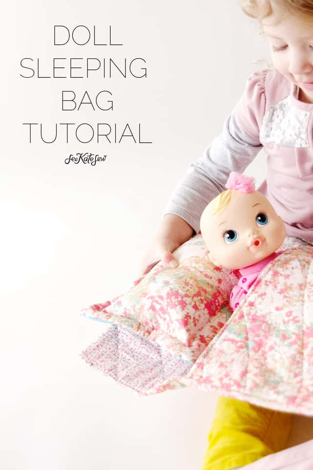 Doll Sleeping Bag Tutorial | diy doll accessories | how to sew doll accessories | diy gifts for kids | diy doll toys | kids sewing projects | easy sewing projects || See Kate Sew #dollaccessories #dolltoys #easysewing