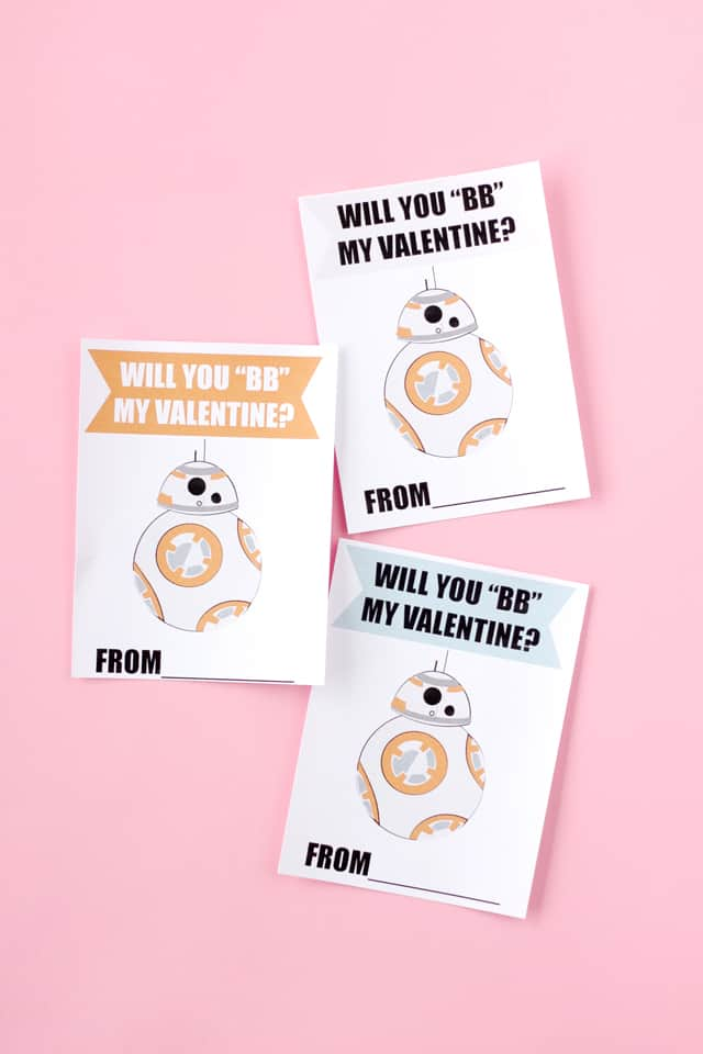 "BB8 Valentine Printables ""Will you BB my Valentine? | Star Wars themed Valentines | fun Valentines for kids | diy Valentines | homemade Valentines | free valentine printable || See Kate Sew #starwars #diyvalentines #valentinesday"