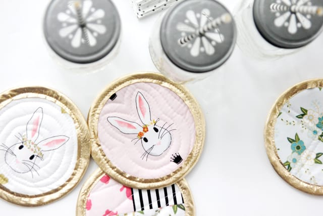 Bunny Coasters with Wonderland Fabric | See Kate Sew