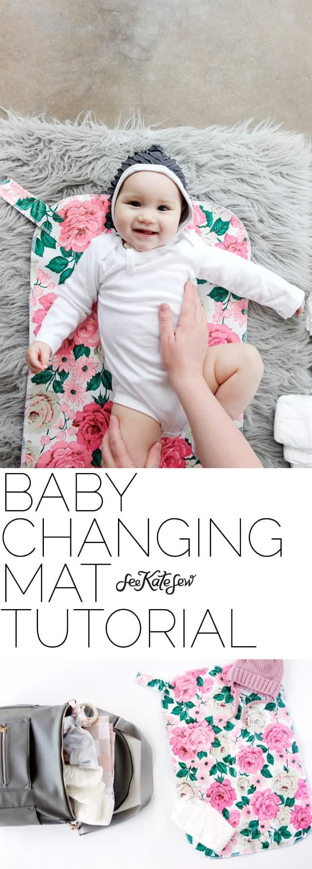 DIY Baby Changing Mat Tutorial | handmade baby changing mat | diy baby accessories | baby changing mat pattern | sewing tutorials | free sewing patterns || See Kate Sew #babychangingmat #diybaby #babyaccessories