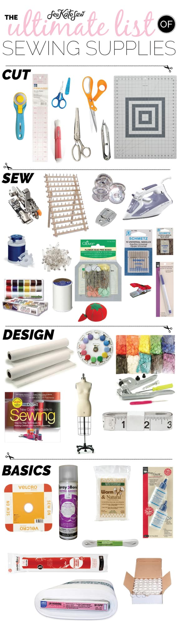 The Ultimate List of Sewing Supplies | my favorite sewing supplies | sewing must haves | must have sewing supplies | sewing supplies for beginners | sewing supply list | basic sewing supplies || See Kate Sew #sewingsupplies #sewingtips #beginnersewist