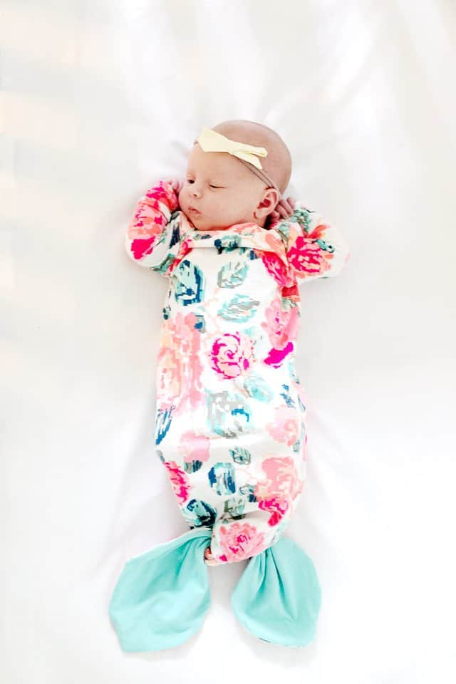 Mermaid Baby Gown Tutorial + Owlet Smart Sock Promo | diy baby gown | mermaid inspired baby clothing | handmade baby gown | baby gown sewing tutorial | sewing tips and tricks | free sewing patterns | baby clothing diy || See Kate Sew #mermaid #freesewingpattern #sewingtips #diybabyclothing