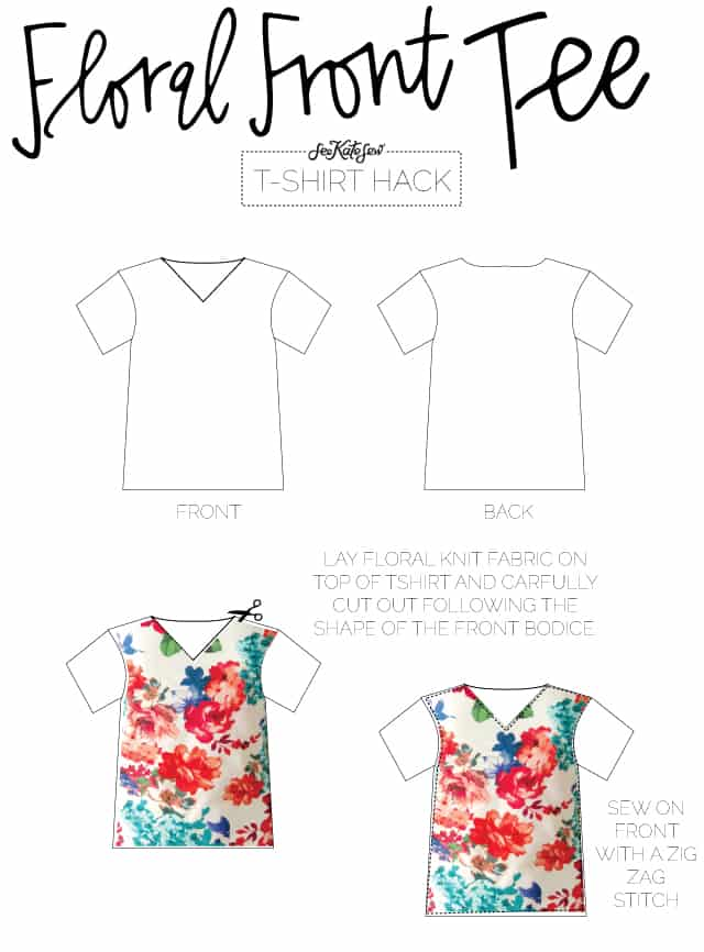 Floral Front Tee | 10 Ways to Refashion a Basic Tee | 10 T-Shirt Hacks | t-shirt sewing tips | sewing tips and tricks | easy sewing tutorials | how to re-use an old t-shirt || See Kate Sew #sewingtutorial #tshirthack