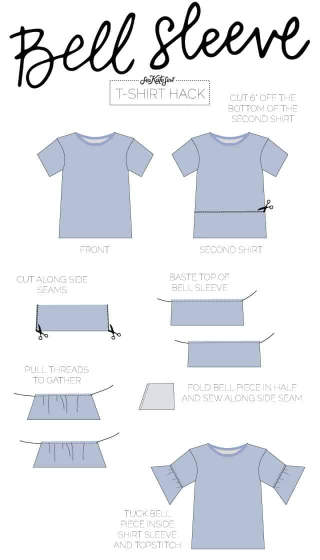 BELL SLEEVE TEE | 10 Ways to Refashion a Basic Tee | 10 T-Shirt Hacks | t-shirt sewing tips | sewing tips and tricks | easy sewing tutorials | how to re-use an old t-shirt || See Kate Sew #sewingtutorial #tshirthack