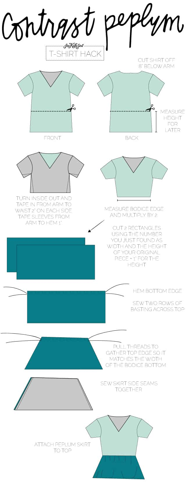 contrast peplum | 10 Ways to Refashion a Basic Tee | 10 T-Shirt Hacks | t-shirt sewing tips | sewing tips and tricks | easy sewing tutorials | how to re-use an old t-shirt || See Kate Sew #sewingtutorial #tshirthack