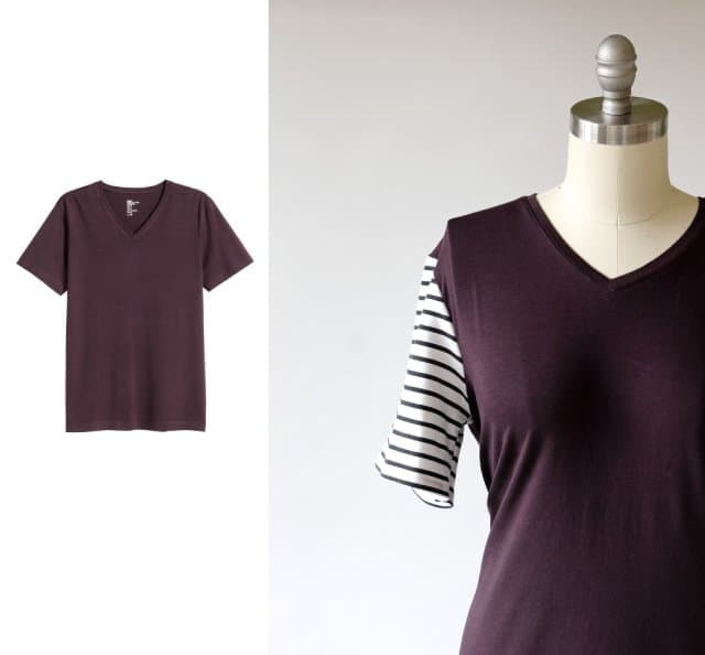 Contrast Sleeve Tutorial | 10 Ways to Refashion a Basic Tee | 10 T-Shirt Hacks | t-shirt sewing tips | sewing tips and tricks | easy sewing tutorials | how to re-use an old t-shirt || See Kate Sew #sewingtutorial #tshirthack
