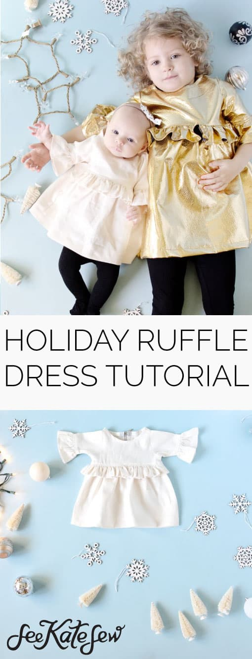 Girl's Holiday Ruffle Dress Tutorial|See Kate Sew