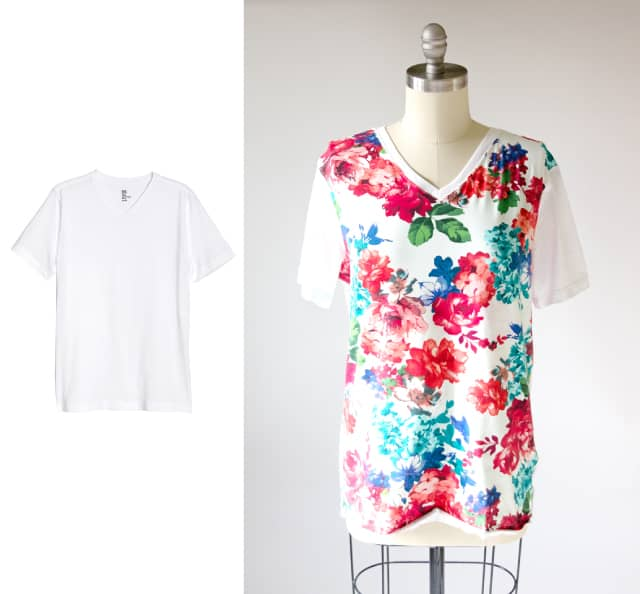 Floral Front Shirt Hack | 10 Ways to Refashion a Basic Tee | 10 T-Shirt Hacks | t-shirt sewing tips | sewing tips and tricks | easy sewing tutorials | how to re-use an old t-shirt || See Kate Sew #sewingtutorial #tshirthack