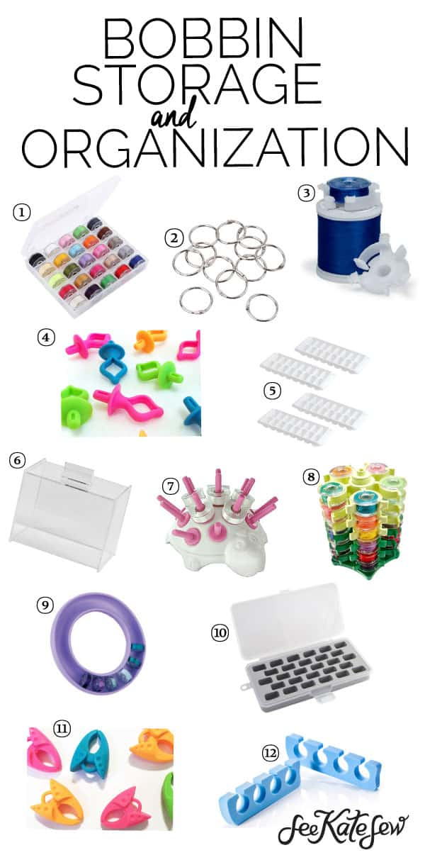 Bobbin Storage and Organization Ideas | sewing organization tips | sewing tips and tricks | organizing your sewing space | how to organize sewing bobbins || See Kate Sew #organization #sewingtips #sewingorganization