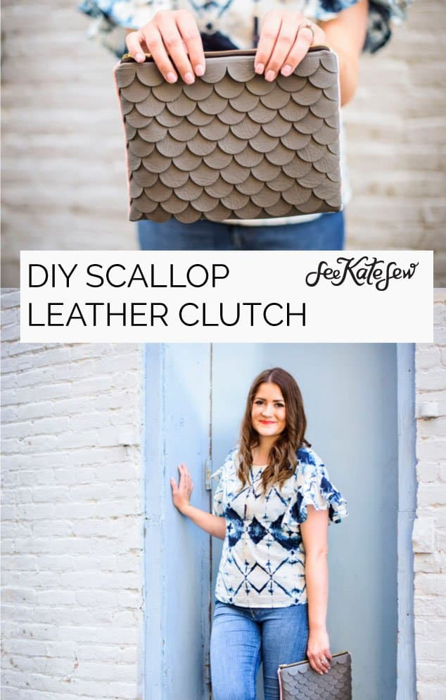 DIY Leather Scallop Clutch|See Kate Sew