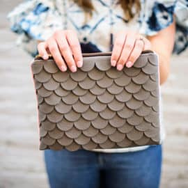 DIY SCALLOP LEATHER CLUTCH   See Kate Sew