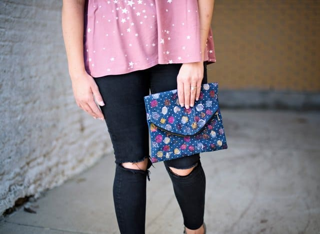 make a clutch from old jeans | 5 Thrift Store Sewing Hacks | sewing tutorials | sewing tips and tricks | sewing projects | thrift store clothing hacks | sewing tutorials clothes | DIY clothing tutorials | DIY clothing hacks || See Kate Sew