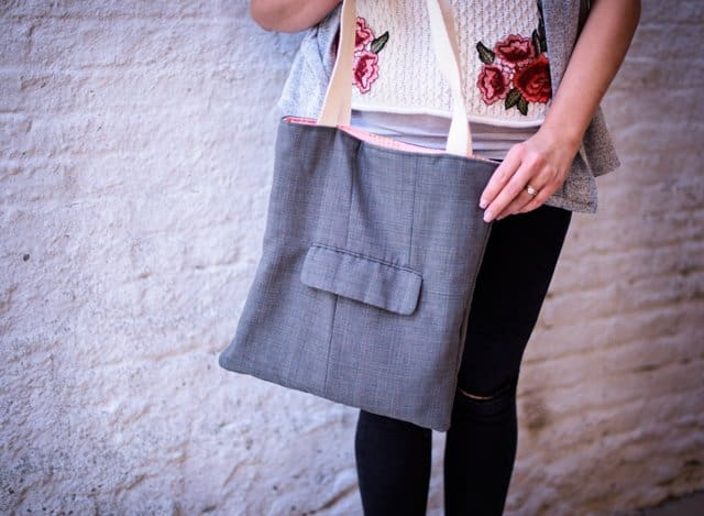 TOTE MADE FROM SUIT | 5 Thrift Store Sewing Hacks | sewing tutorials | sewing tips and tricks | sewing projects | thrift store clothing hacks | sewing tutorials clothes | DIY clothing tutorials | DIY clothing hacks || See Kate Sew