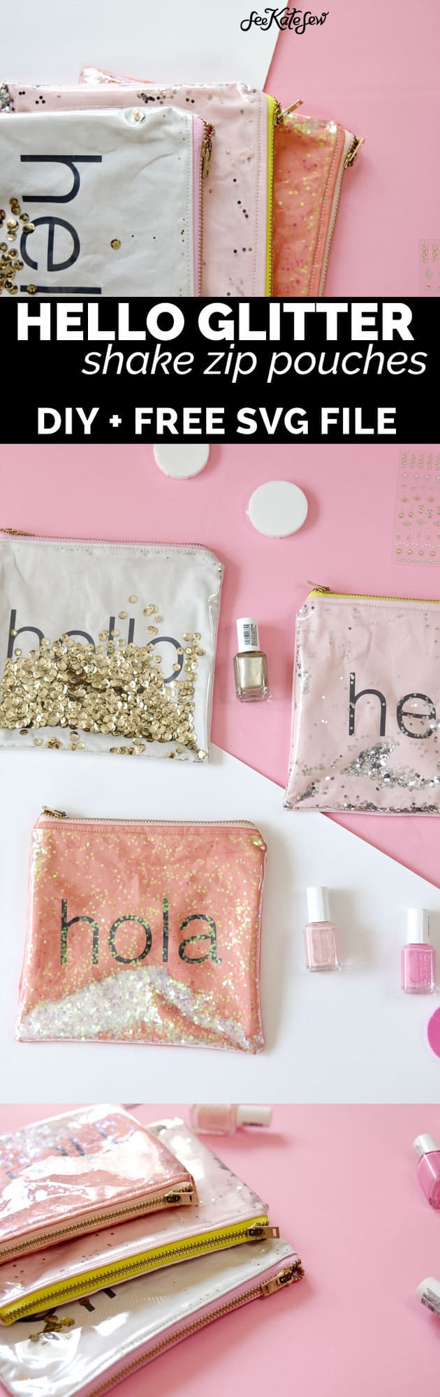 DIY GLITTER VINYL ZIPPER POUCHES | GLITTER SHAKE POUCH | diy makeup bag | diy zippered pouch | cricut projects | diy tips and tricks | diy sewing projects | sewing tips and tricks | sewing tutorials | how to make a zippered pouch || See Kate Sew