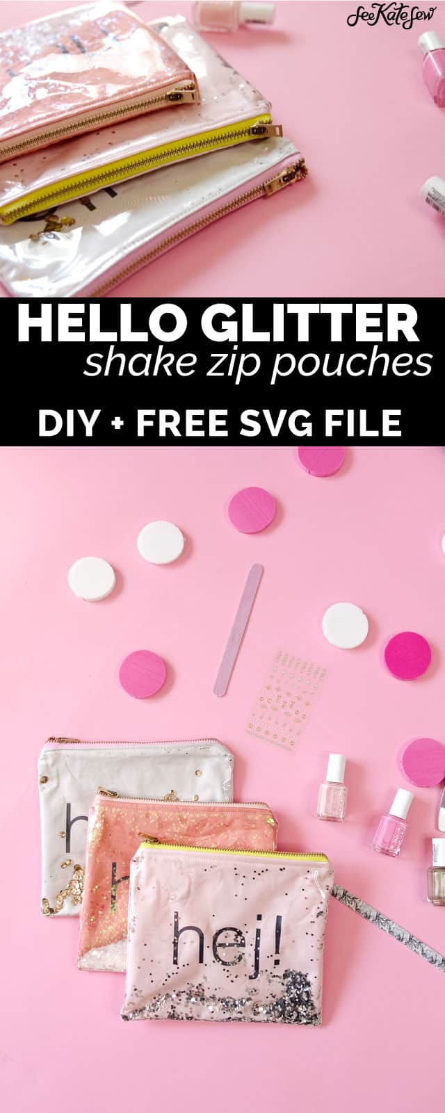 DIY GLITTER VINYL ZIPPER POUCHES - Easiest tutorial