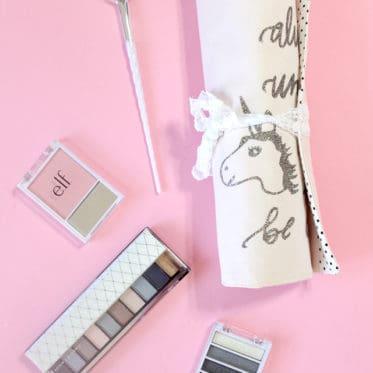 Unicorn Makeup Brush Roll Tutorial + SVG cut file