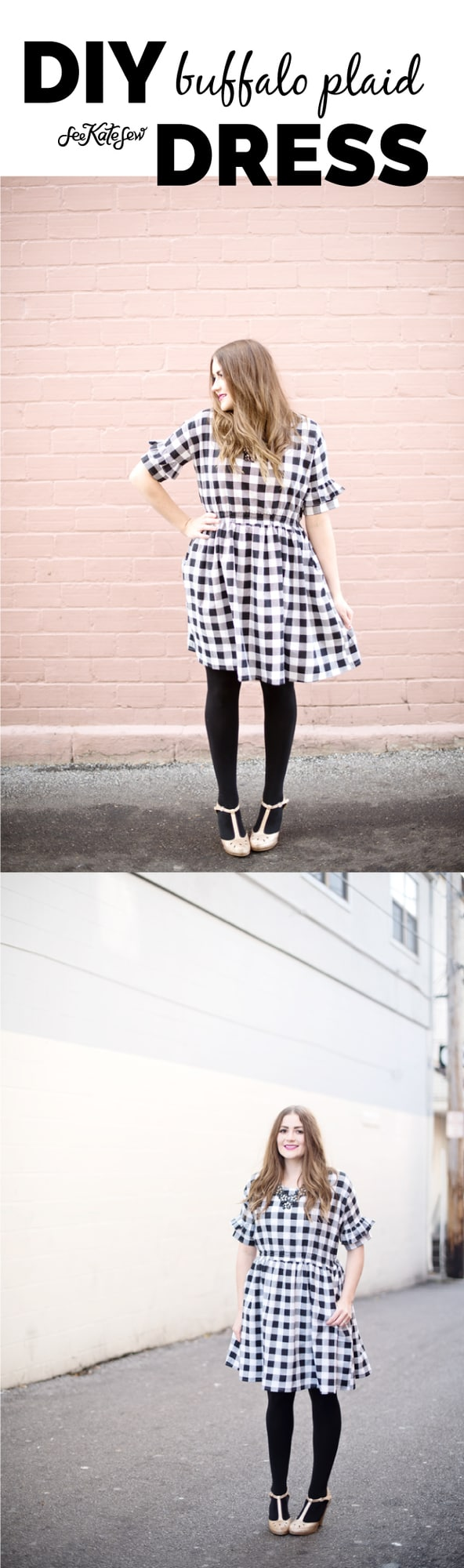 Joann Buffalo Plaid Christmas Dress | buffalo plaid print | diy dress | sewing tips and tricks | dress sewing pattern | handmade dresses | how to sew a buffalo plaid dress || See Kate Sew #buffaloplaid #diydress #sewingtips