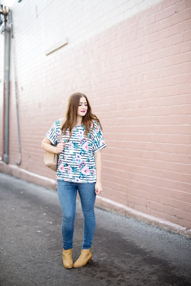 Dreamer Top with Sprout Patterns | DIY Floral Striped Top | diy clothing | handmade clothing | sewing tips and tricks | sewing patterns | sewing tutorials || See Kate Sew #sewingpatterns #floralstripedtop #diyclothing