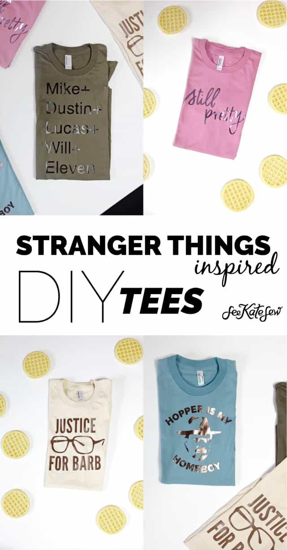 Stranger Things Inspired DIY Tees | stranger things tees | diy tshirt ideas | fun tshirt designs | DIY tshirt ideas | stranger things shirt || See Kate Sew #diytshirt #strangerthings #funtee
