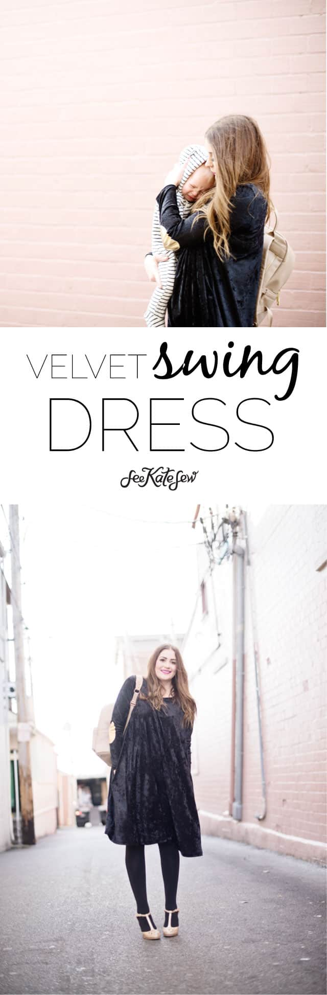 Velvet Swing Dress Pattern | NYE black velvet + gold pleather dress | diy dress | sewing clothing | diy clothing tips | how to sew a crushed velvet dress | holiday dress ideas || See Kate Sew #diyclothing #sewingtutorials #handmadeclothing