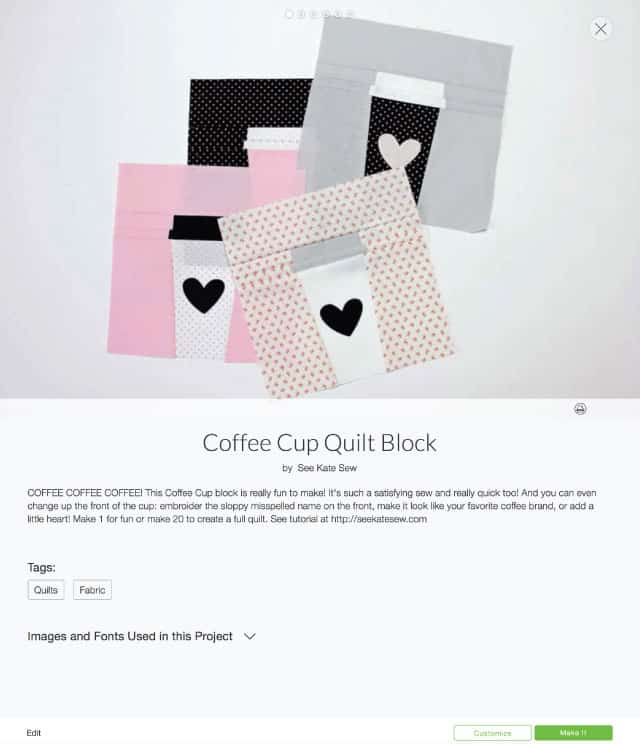 QBOM: Coffee Cup Quilt Block | cricut tutorials | how to make a quilt block | diy quilt block | quilt block tutorial | quilt blocks of the month | quilt block patterns || see Kate sew #quiltblock #freequiltblock #quiltblockpattern