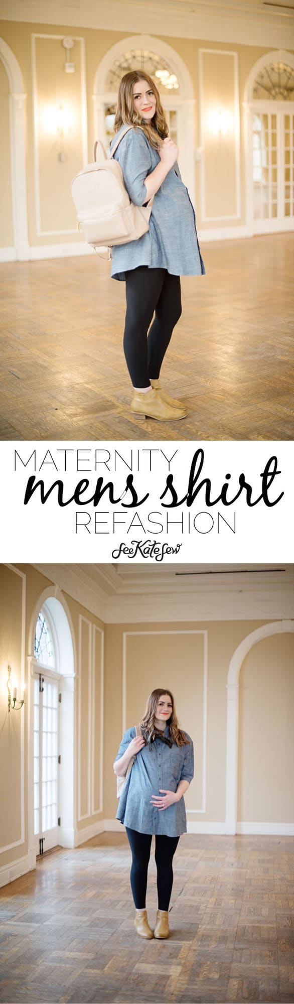Men's Shirt Maternity Refashion with Ryla Pack! | how to refashion a men's shirt | easy diy maternity shirt | maternity refashion sewing patterns | pregnancy refashion | maternity shirt tutorials || see Kate sew #maternityrefashion #shirtrefashion #diymaternity