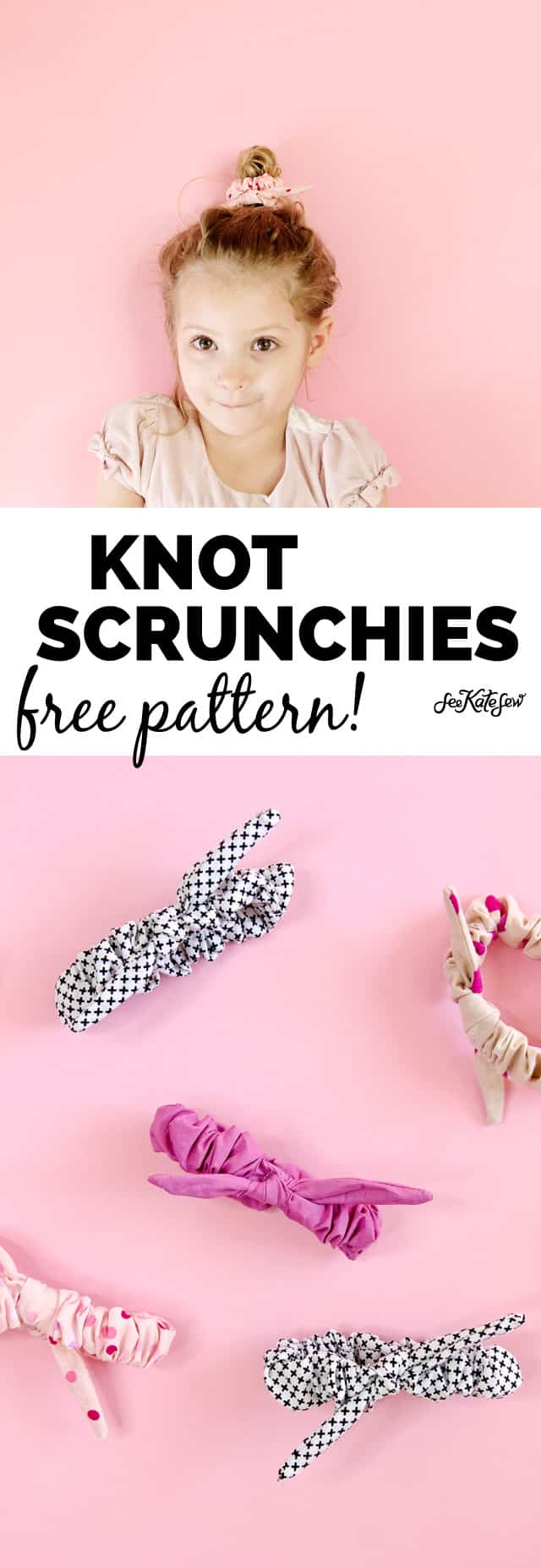 Knot Scrunchies free pattern | diy knotted scrunchie tutorial | how to make a scrunchie | diy scrunchie | handmade scrunchie tutorial || See Kate Sew #scrunchietutorial #diyscrunchie #handmadescrunchie
