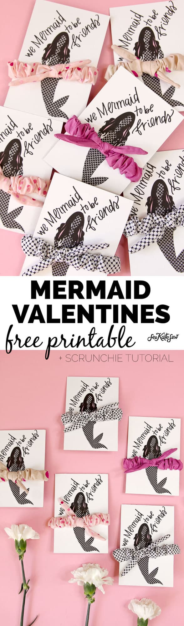 We Mermaid to Be Friends | valentine ideas and diy knotted scrunchie tutorial | fun valentine ideas | diy valentines | how to make a scrunchie | diy scrunchie | handmade scrunchie tutorial || See Kate Sew #scrunchietutorial #diyscrunchie #handmadescrunchie