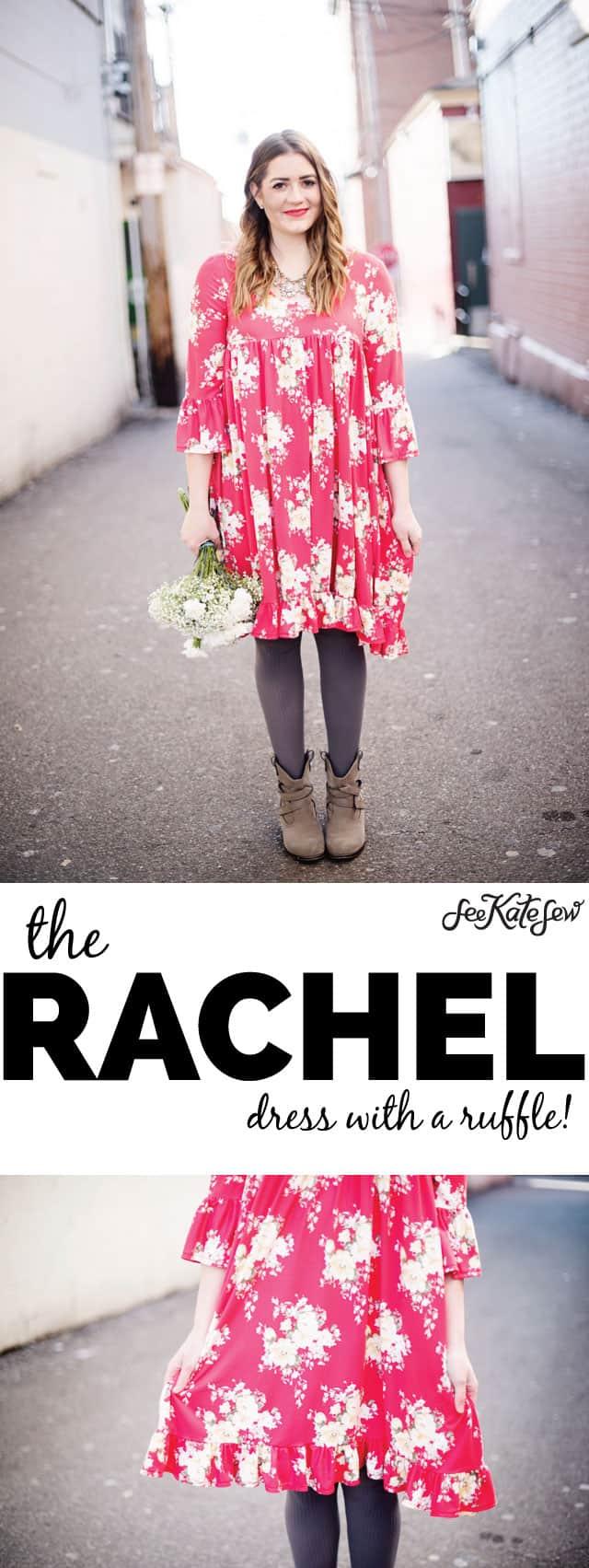 The Rachel Dress Pattern with a Ruffle | diy dress patterns | sewing patterns | ruffle dress pattern | diy ruffle dress || See Kate Sew #ruffledress #diydress #dresspattern