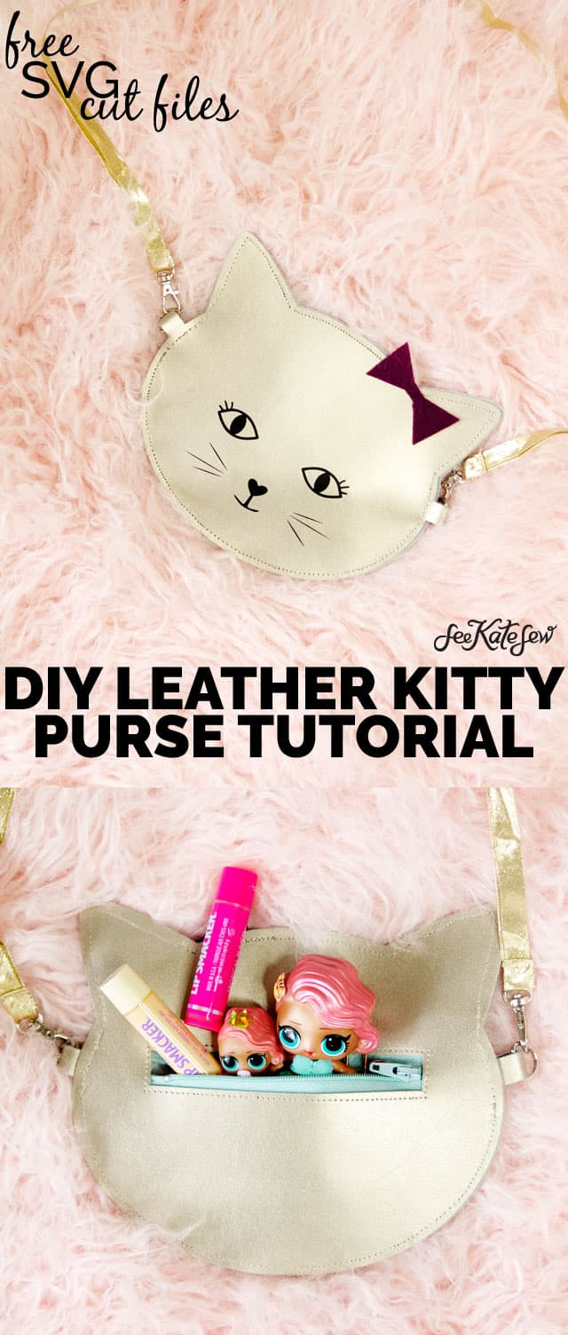 DIY Leather Kitty Purse cut with the Cricut Maker
