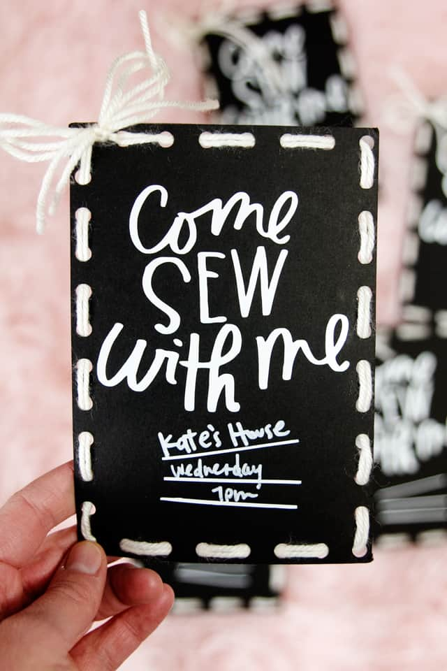 Free Sewing Night Invitations | Sewing Night Invitation! | diy invitations | party invitation ideas | cricut maker tutorials | sewing themed invitations || See Kate Sew #diyinvitations #cricut #critcutdiy