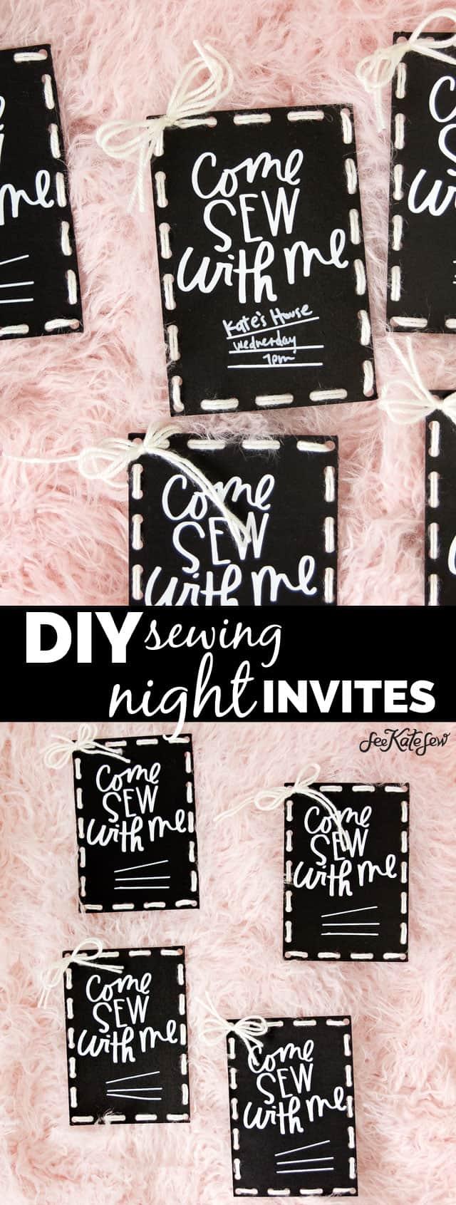 Sewing Night DIY Invites | Sewing Night Invitation! | diy invitations | party invitation ideas | cricut maker tutorials | sewing themed invitations || See Kate Sew #diyinvitations #cricut #critcutdiy