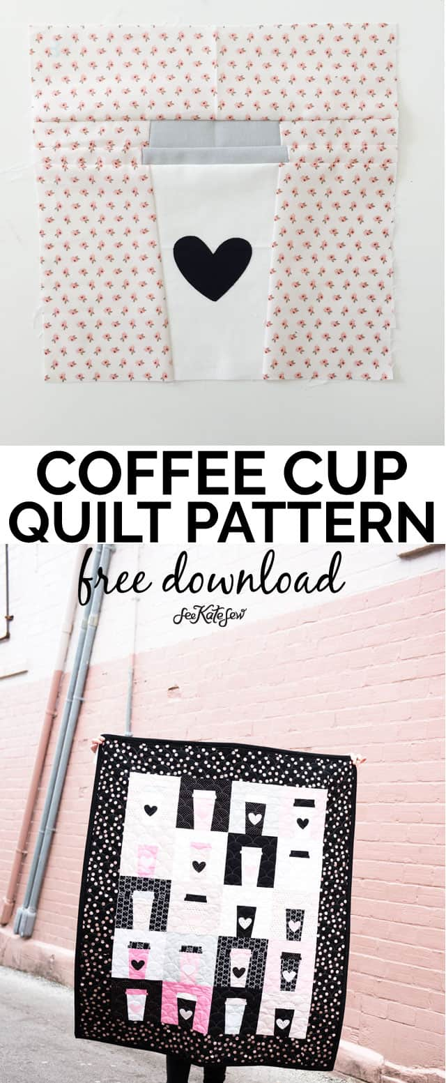 Coffee Cup Quilt Pattern | free quilt patterns | quilting tutorial | diy quilt | quilt blocks || See Kate Sew #quilting #sewing #freepattern #quiltpattern #diy #crafts #tutorial