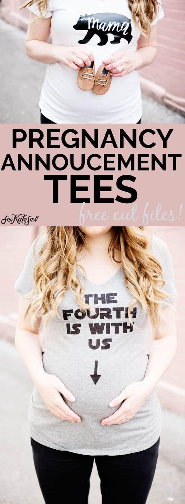 DIY Pregnancy Annoucement Tees   pregnancy announcement t-shirts   pregnancy announcement ideas   diy pregnancy announcement    See Kate Sew #pregnancyannouncement #diytshirt