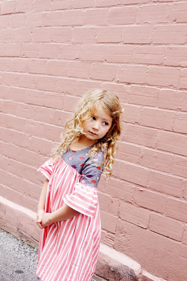 Lips + Stripes Dress   DIY Girls Dress   DIY Kids Clothes   Emma Dress Pattern   Kiss Me, Kate Fabric   Girls Dress Tutorial    See Kate Sew #diygirlsdress #emmadresspattern #kissmekatefabric #sewingtutorial #seekatesew