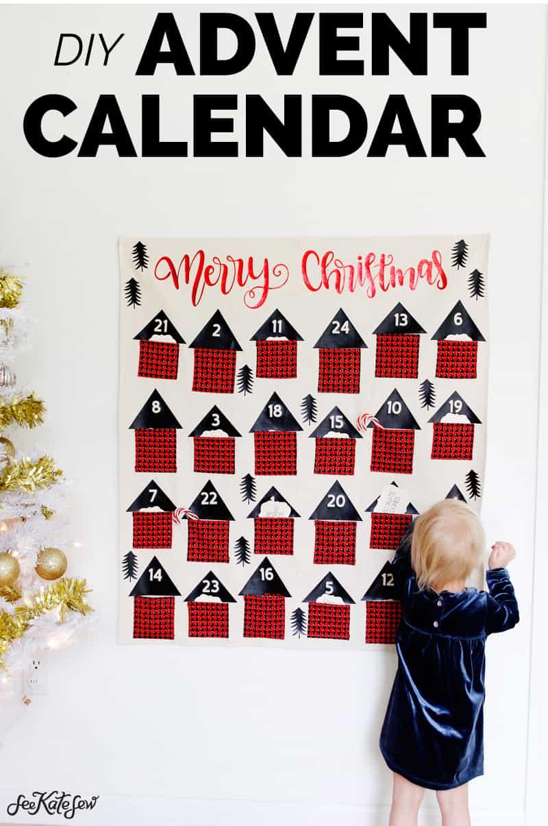 Sew a Pocket Advent Calendar | Advent Calendar | DIY Advent Calendar | Pocket Advent Calendar | Cricut | Things to Make with a Cricut | Kiss Me Kate Fabric | DIY Christmas || See Kate Sew #advent #kissmekate #seekatesew