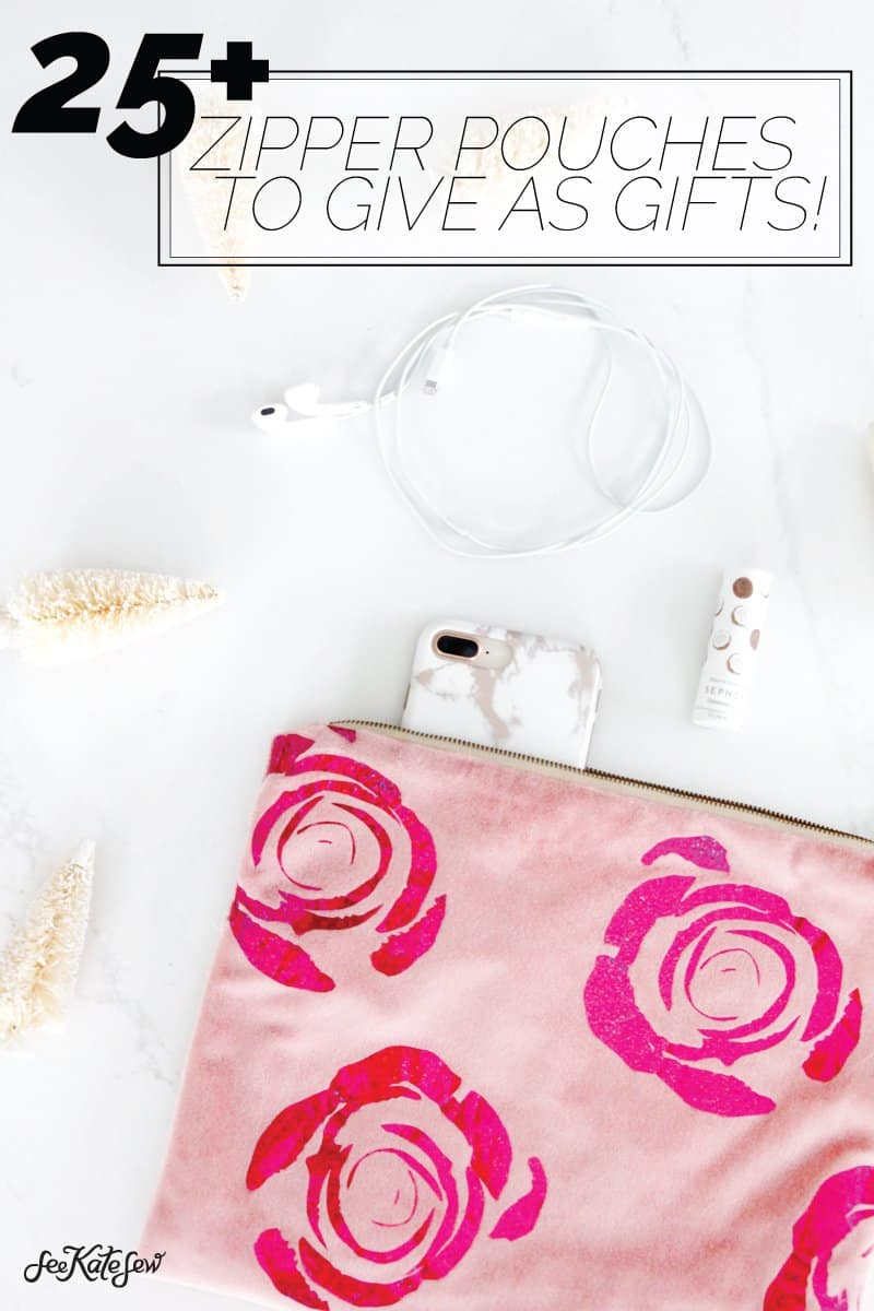 25 easy zipper pouch sewing tutorials to sew for gifts! | DIY Zipper Pouch | DIY Gifts | DIY Easy Gift Ideas | DIY Clutches | Best Zipper Pouches | Zipper Pouch Gifts || See Kate Sew #zipperpouch #giftideas #seekatesew