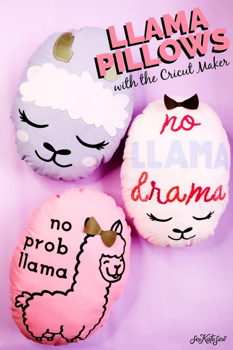 Llama Pillows with the Cricut Maker | Llama Pillow Set | DIY Llama Pillows | DIY Pillows | Circut Maker Project | Cricut Maker Pillows | Cricut Maker Tutorial || See Kate Sew #cricutmaker #Llama #seekatesew