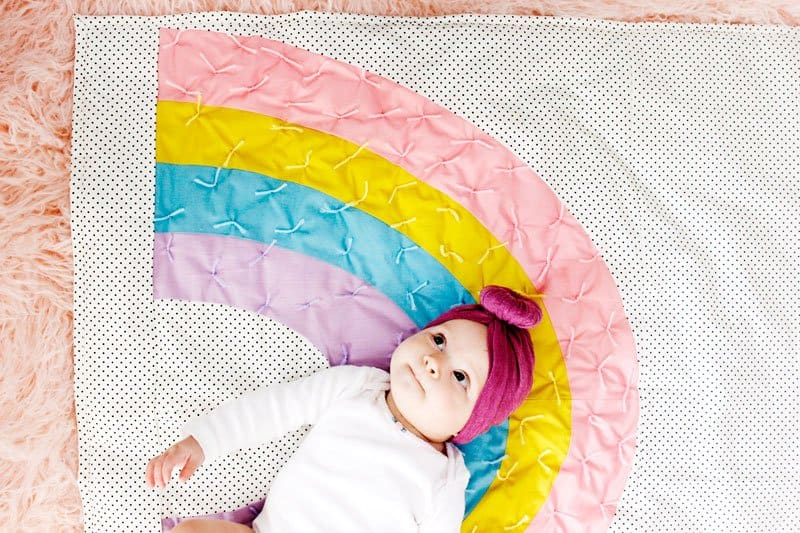 Rainbow Baby Quilt (free pattern!) | Baby Quilt | Rainbow Baby Quilt | Rainbow Quilt | Baby Quilt Pattern| Free Baby Quilt Pattern | Free Quilt Pattern | Quilt Pattern || See Kate Sew #freepattern #cricut #babyquilt #seekatesew